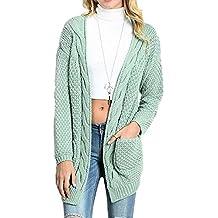 Donne Cardigan Maglione Lungo Maglieria Cappotto Invernale Allentato Con Tasche Verde Fagiolo M