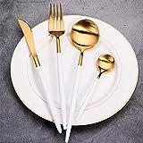 Set di posate da bistecca, posate in acciaio INOX, riutilizzabili, set di posate, pezzi/set, con forchetta cucchiaio da tavola, coltello, perfetto per tavolo da cucina, White Gold,1set, Taglia libera