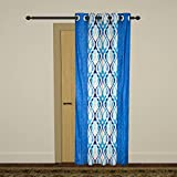 Homely Polyester Geometric Door Curtain - 7 ft., Blue & White