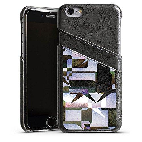 Apple iPhone 5 Housse étui coque protection Graphique Graphique Collage Étui en cuir gris