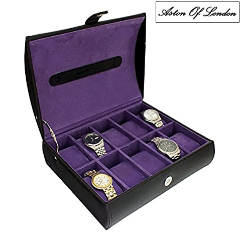 Gents Black PU Leather 10 Watch Dome Storage Case Organiser Box with Purple Interior by Aston Of London®