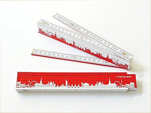 Preisvergleich Produktbild Zollstock Gliedermaßstab WIEN rot weiße Skyline, 2m Holz-Maßstab für Hobby Heim- und Handwerker, Geschenkidee zum Umzug Einzug Geburtstag, für Wiener und Wien Freunde von 44spaces
