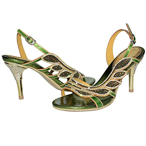 20a21af6533ade crystal diamond sandals hollow buckle slippers shoes handmade leather women  evening banquet party nightclub pumps thin high heels . green . 40