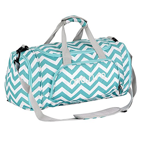 MOSISO Canvas Fabric Gym Bag Sports Duffels Athletic Sport Shoulder Bag Short Trip Bag with Separate Shoes and Gear Compartments for Men & Women, Chevron Hot Blue