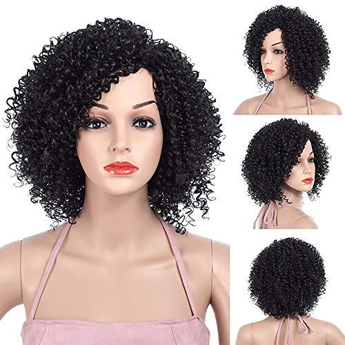 Gao-Wig Synthetische Kurze Haare schwarz Afro lockige Perücken für Frauen 12 Zoll Perücke hitzebeständiges Haar -