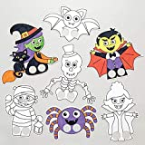 Baker Ross Marionetas de Dedos con Personajes de Halloween para Colorear (Pack de 24), Ideales para Manualidades Infantiles de Halloween