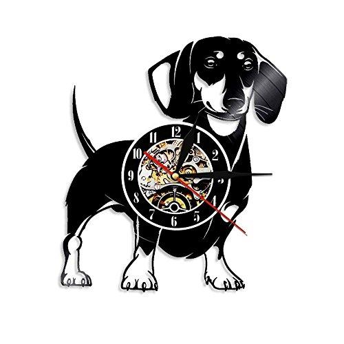Einzigartige Vinyl-Wanduhr, Motiv: Dackel Hund Hund Hund Hund Hund Hund Hund Hund Geschenk 30,5 cm...