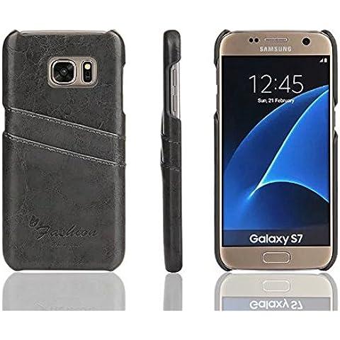 Distinct® Coperchio di lusso PU carta di cuoio fessura posteriore dura di caso per Samsung Galaxy S7 Edge (grigio) - Goffratura Cera