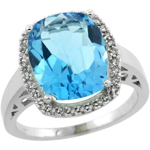 (pietra di dicembre), oro bianco 14 k con topazio blu e diamanti Anello di fidanzamento
