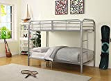 Major-Q Silver Metal Tube Supported Twin over Twin Bunk Bed with Build-In 2 Side Ladders & Full Length Guard Rail (7002178SI)