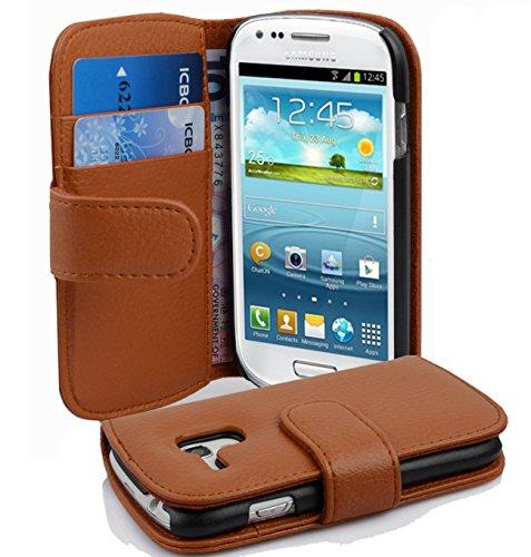 Cadorabo Samsung Galaxy S3 Mini Custodia di Libro di Finta-Pelle Struttura in Marrone Cioccolata - con Vani di Carte e Chiusura Magnetica - Portafoglio Cover Case Wallet Book Etui Protezione