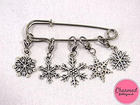 Snowflakes - Crochet Stitch Markers - Silver set of 5 - perfect gift or stocking filler for those who love Crochet by Charmed Knitting