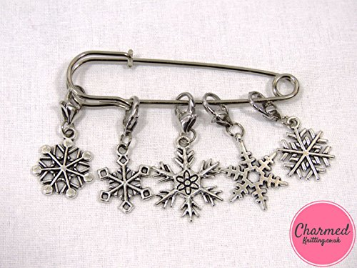 Snowflakes - Crochet Stitch Markers - Silver set of 5 - perfect gift or stocking filler for those who love Crochet by Charmed Knitting (Double-knit Womens)