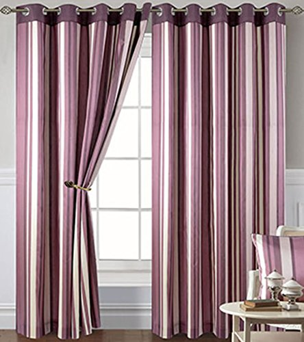 Damson Stripe Eyelet Curtains 90 X