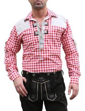 Trachtenhemd für Trachten Lederhosen mit Verzierung rot/kariert