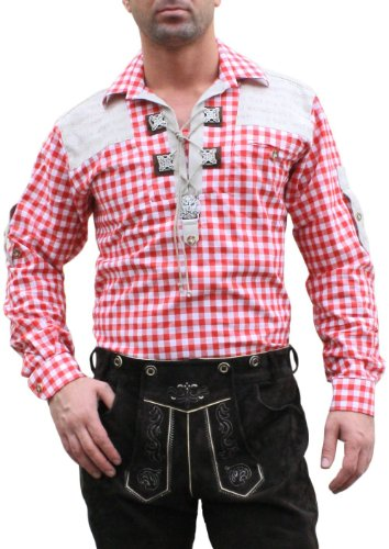 Trachtenhemd für Trachten Lederhosen mit Verzierung rot/kariert, Hemdgröße:L