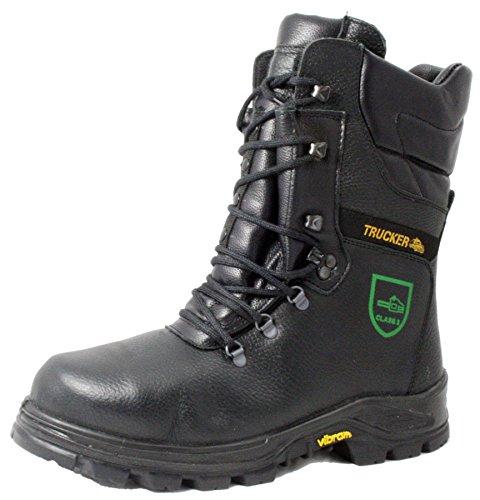 Trucker Black forest 007TM02 chainsaw safety boots steel toe cap midsole black...