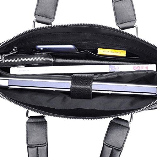 BULAGE Taschen Leder Männer Mobiler Querschnitt Leder Dokumente Business Freizeit Weiches Leder Messenger Schulter Rücken Männlich Black
