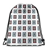 Drawstring Tote Bag Gym Bags Storage Backpack, Geometric Square Shaped Lines Aztec Tribal Forms with Ethnic Detail Folk Batik Image,Very Strong Premium Quality Gym Bag for Adults & Children