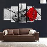 LA VIE 5 Teilig Wandbild Hochwertiger Ölbild Rote Rose Dekoration Leinwanddrucke Bilder Moderne Kunstdruck für Zuhause Wohnzimmer Schlafzimmer Küche Hotel Büro Geschenk 25x40/25x55/25x75 CM