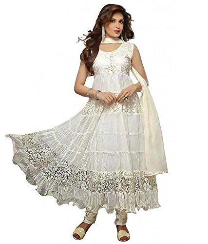Janasya Women's White Brasso Unstiched Dress Material