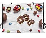 EdCott 7x5ft Fondo in legno bianco ciambelle al cioccolato fagioli vari fagioli di gelatina Fotografia Sfondo Fotografia Sfondo LYLF005
