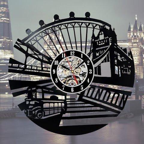 Londres Horloge murale Fan Décor Chambre Idée Cadeau Art Home Party
