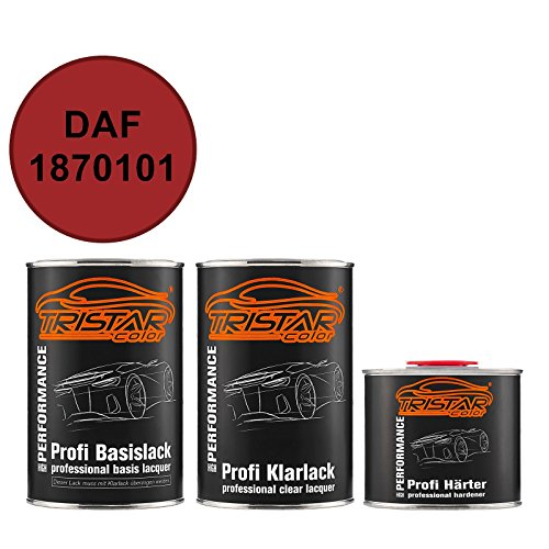TRISTARcolor Autolack Set Dose spritzfertig DAF 1870101 Braunrot RAL 3011 Basislack + 2K Klarlack 2,5L