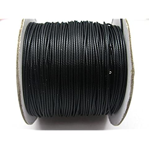 Nuova 100 Yards Nero coreano cavo incerato String 1 millimetro filo per il braccialetto della (Cavi 3 Unità 1 Meter)