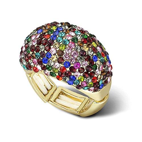 LUX Zubehör goldfarbenes Multicolor Strass Statement Stretch Cocktail Ring