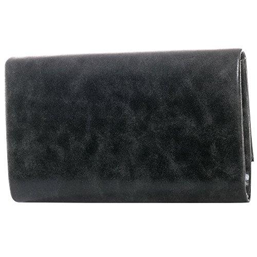 Gadzo® clutch abendtasche clutch tasche clutch umhängetasche clutch metallic Look CLUM schwarz 04