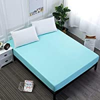 YOUHA 2019 4 Size Fitted Sheet Bedding Cover Bed Bedspreads Soft Comfort Solid Color Coverlets 90x200cm Blue