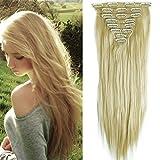 23' Extensions Cheveux Clips 8 Bandes - Extension a Clip Cheveux Lisse - Clip in Hair Extensions 58cm (23 pouces) - Blond Très Clair