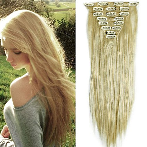 23' Extensions Cheveux Clips 8 Bandes - Extension a Clip Cheveux Lisse - Clip in Hair Extensions...