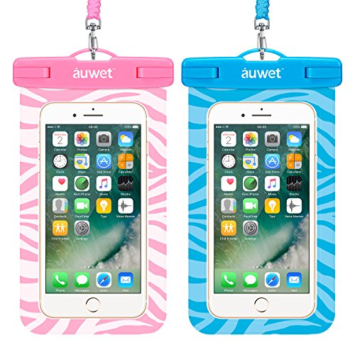Wasserdichte Hülle, Auwet Wasserdichte tasche beutel handyhülle für iPhone 7/6s/plus/5/5s, Samsung Galaxy S6/ S5/S7, Note 4/3 für Bootfahren/ Schwimmen/Tauchen/Angel (Blau&Rosa) (Blu Pure Xl Handy)