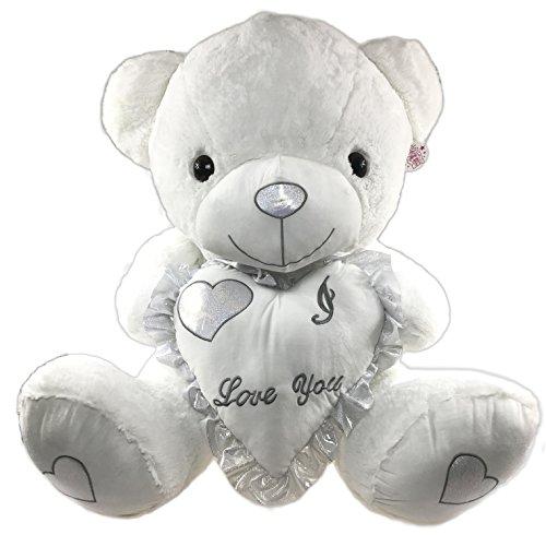 XXL Teddy 80cm weiß mit Herz I love you - Riesen Plüschbär Valentine - Teddybär Valentinstag