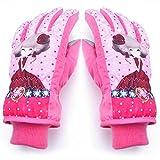Winter Kinderhandschuhe Junge Skifahren Warme Wasserdichte Mädchen Cartoon Schüler Nette Outdoor Verdicken Handschuhe (Farbe : Pink, größe : L)