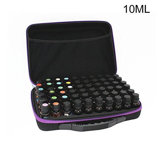 SJLED Multifunktionale Ätherisches Öl Aufbewahrungsbox mit Griff, Öle Box Tragetasche Stoßfest Bruchsicher Schaumstoffeinsatz Ölflaschenbox, 60 Löcher (10ml)