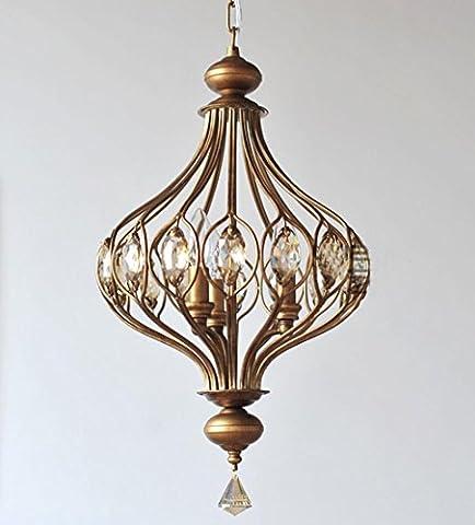 Lanterne nordique bougie en fer lustre 40W D36CM H42CM E14 3 tête pour salon, salle à manger, chambre à coucher, plafonnier