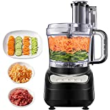 Food Processor, Aicok Compact Food Processor, Multifunctional 1.8L Electric Food Chopper, 3 Speed Controls Food Shredder, Chopper with Blade, Shredder & Grater, Safety Interlocking Design, 500W, Black