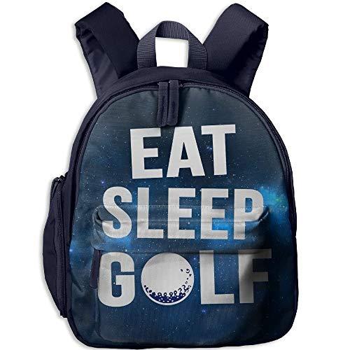 Eat Sleep Golf Kids Mini Backpack Shoulder Schoolbag with Front Pockets -