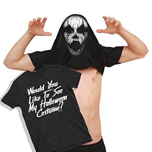 Herren Would You Like to See My Creepy MASK Kostüm Haunted Halloween Umdrehen T-Shirt (The Haunted Mask Kostüm)