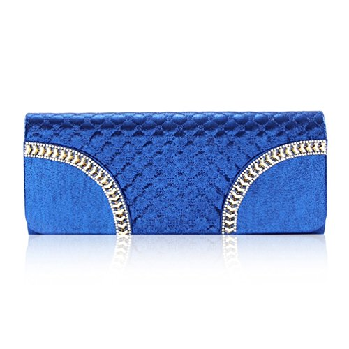 Damara® Ladies Fashion Check Borsetta Rigida Frizioni In Strass Di Pietra Blu