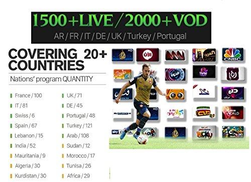 Suscripción a Smart IPTV de Goosoo, 1500 canales de televisión, 2000 de vídeo por demanda, con programación de canales árabes, del medio oriente, del norte de África, franceses, europeos