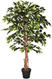 Homescapes 4 Feet Green Ficus Tree With Real Wood Stems and Lifelike Leaves Replica Artificial Plant