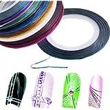 fitTek® 10 Farbig Nailart Zierstreifen Strip Stripe Streifen