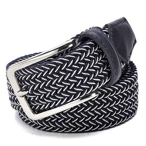 Ccgayd cintura elastica per uomo in tessuto elastico intrecciato in tela elasticizzata elasticizzata con cinturino in pelle per uomo