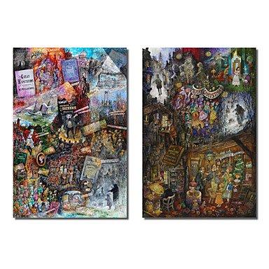 Piteng™ Reproduction transférée sur toile Art populaire Dickens et A Christmas Carol par Bill Bell Set de 2