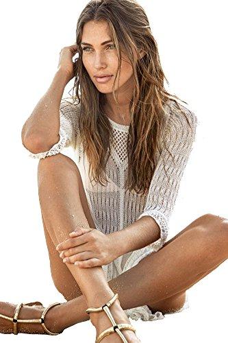 Cool Damen Häkeln Sonnenschutz Bademode Quaste Bikini Abdeckung Oben Strand Kleid Weiß
