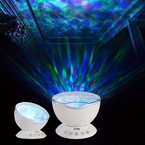 Gosear Ocean Wave LED RGB Projektor Rotierenden Nacht Lampe Projektor mit Musik Player Lautsprecher-Funktion mit Fernbedienung Weiß - 4